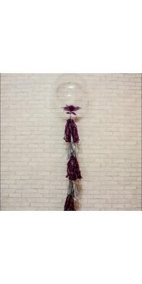 Bubble шар 61см с перьями на тассел гирлянде
