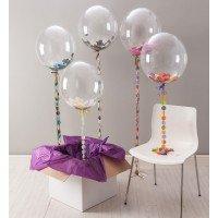 Bubble шар 61 см с конфетти на 3D гирлянде