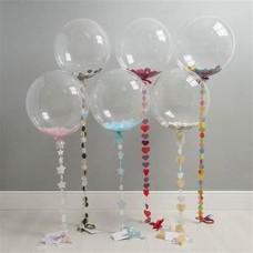 Bubbles шар 61 см перьями на 3D гирлянде