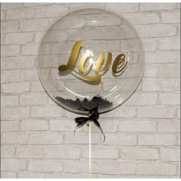 Bubble шар 61см с перьями и индивидуальной надписью