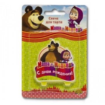 """Свеча """"С днем рождения"""" Маша и медведь"""
