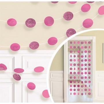 Гирлянда круги розовая