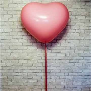 Большой шар сердце 110 см. на атласной ленте