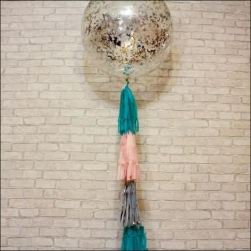 Большой шар 90 см с конфетти на тассел гирлянде