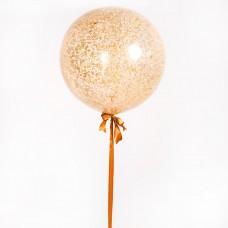 Большой гелиевый шар 90 см с конфетти на атласной ленте