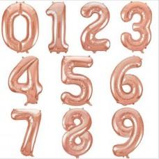 Шар фольгированный розовое золото цифра 102см.
